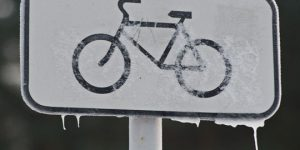Frozen Bike Sign Cycle Canada