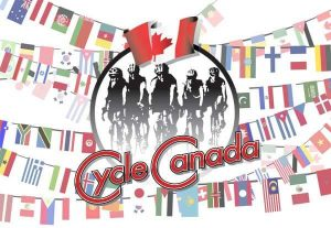 Flags of the workd and Cycle Canada logo