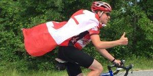 Adam Gibson on riding dress in Canadian flags